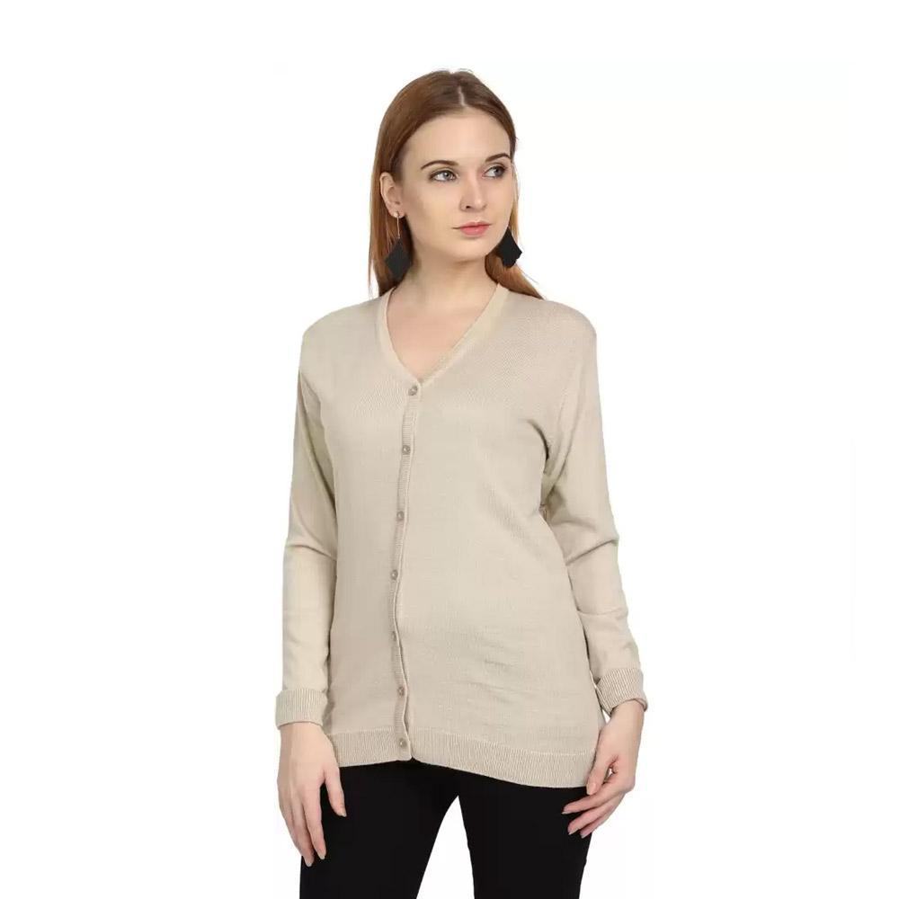 Companion Solid V Neck Casual Women Beige Sweater